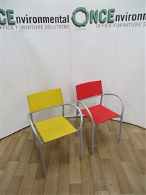Stackable Coloured Poly Chair With Arms On A Silver Frame.Stackable poly arm chair with arms on a silver frame. Two colours available, forur in red and four in yellow.