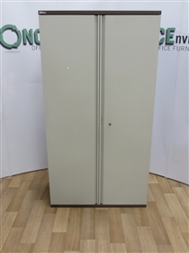 Steel Double Door Cupboard 1850H x 850W x 400D In Grey Or Coffee/Cream. 6 IN STOCK.Steel used second hand double door cupboard with adjustable shelves in coffee cream finish.