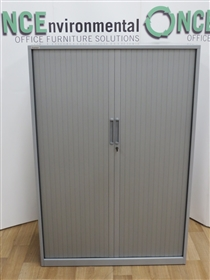 TriumphTriumph Silver Tambour Door Cupboard 1480H x 1000W x 470DTriumph used second hand silver tambour door cupboard 1480h x 1000w x 470d complete with two adjustable shelves.