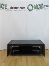 TV Table In Black Finish 1100W x 450D x 400HTV table in black 1100w x 450d x 400h with two shelves.