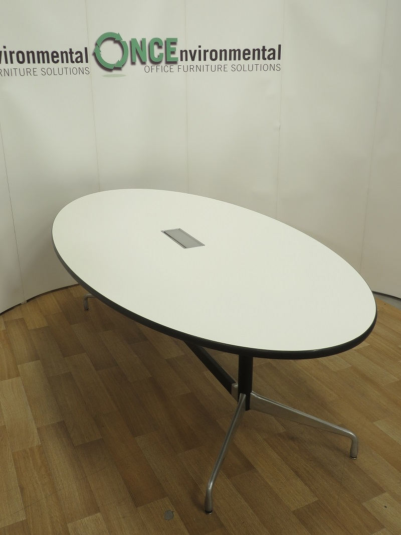 Tables   Vitra Charles Eames White Oval Table 2440W X 1200D