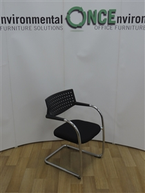 VitraVitra Visavis Chrome Frame Cantilever Arm Chair Available In Any Colour FabricVitra Visavis chrome frame stackable cantilever arm chair with a black perforated back. Seat available in any colour fabric.