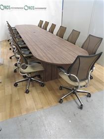 Walnut Finish 5500 x 1200 2-Piece D-EndTable.Walnut Finish 5500 x 1200 Boardroom Table.