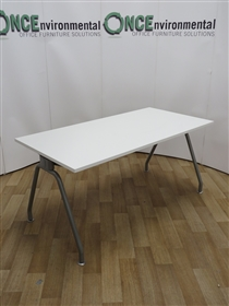 White 1600W x 800D Conference TableUsed second hand white 1600w x 800d meeting table on a silver finish A frame. Will seat up to six peolpe.