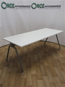 White 2000W x 800D Meeting TableUsed second hand white meeting table 2000w x 800d on a silver finish A frame. Top thickness is 25mm and will seat up to eight people.