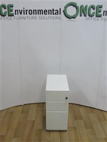 White Slim 3-Drawer 600H x 300W x 500d Under Desk Mobile Pedestal 11 In Stock White Metal Under Desk 3-Drawer Mobile Pedestal.
