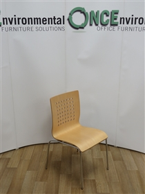 Beech Stackable Breakout ChairUsed second hand beech stackable breakout chair with cube back design on chrome legs.