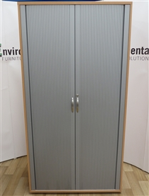 Beech Tambour Door Cupboard 2045H x 1050W x 500D Used second hand beech tambour door cupboard 2045h x 1050w x 500d with silver lockable tambour doors. Supplied with four adjustable shelves and supplied with one key