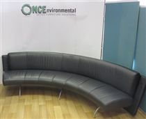 Moroso Waiting Curved Black Leather 2900L x 1200D Reception Sofa  Black Leather Curved Reception Sofa 2900 x 1200.
