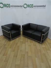 Le Corbusier Style Sofa And Chair SetLe Corbusier style sofa and chair reception set In Black All cushions are set in a designer chrome frame. Dimensions of the sofa are 1300w x 680h x 730d. Dimensions of the chair are 800w x 680h x 730d