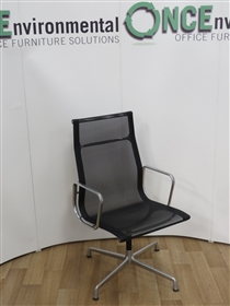 ICFICF Una Boardroom Chair In Black NetweaveUsed second hand ICF Una boardroom chair in black netweave on a four star base with polished aluminium frame.