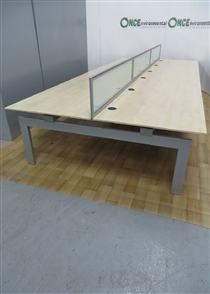 Maple 12 Position Bench 4800W x 2030D Maple used second hand 4800w x 2030d 12 positon bench desk with screens.