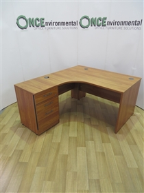 Cherry 1400 x 1200 Left Hand Workstation. 28 IN STOCK. Used Second Hand 1400 x 1200 Left Hand Cherry Panel End Workstation With 3-Drawer Desk High Pedestal.